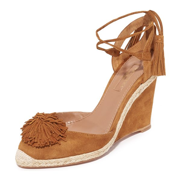 Aquazzura sunshine wedge espadrilles in cognac - Suede Aquazzura espadrilles accented with a pom-pom and...