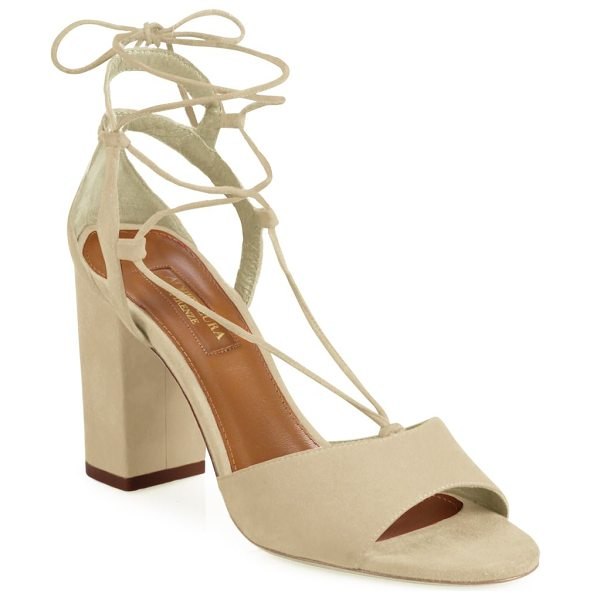 Aquazzura austin lace-up suede block heel sandals in nude - Trend-right block heel grounds suede lace-up sandal....