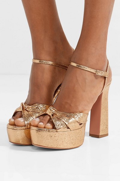 Aquazzura baba plateau metallic cracked-leather platform sandals in gold - Aquazzura's 'Baba Plateau' sandals will catch the light...