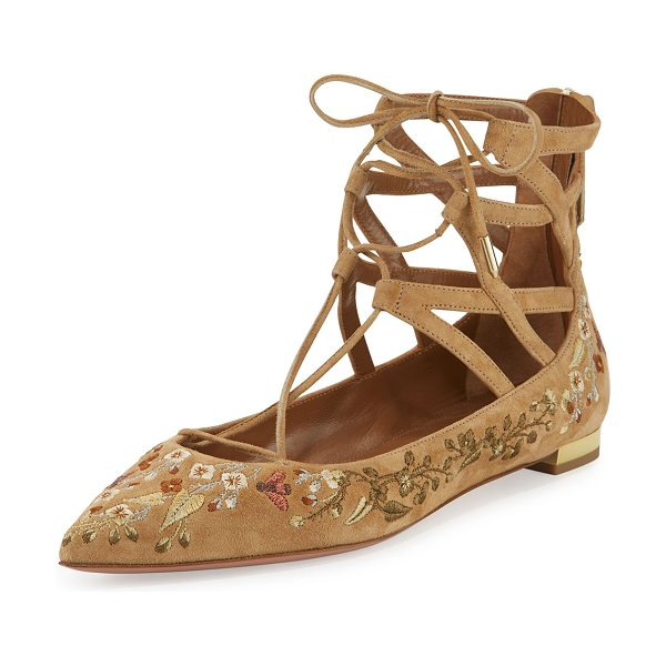 "Aquazzura Belgravia embroidered lace-up flat in cappuccino - Aquazzura floral-embroidered suede flat. 0. 5"" flat..."