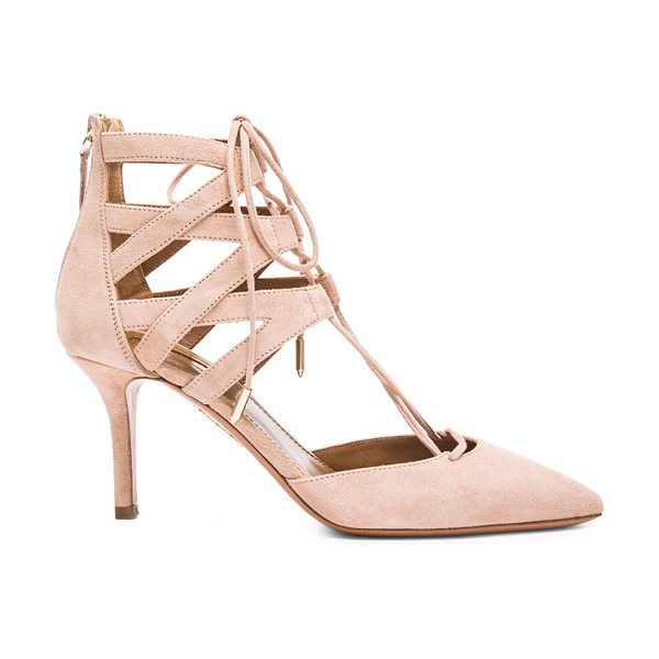 Aquazzura Belgravia Suede Heels in pink,neutrals - Suede upper with leather sole.  Made in Italy.  Approx...