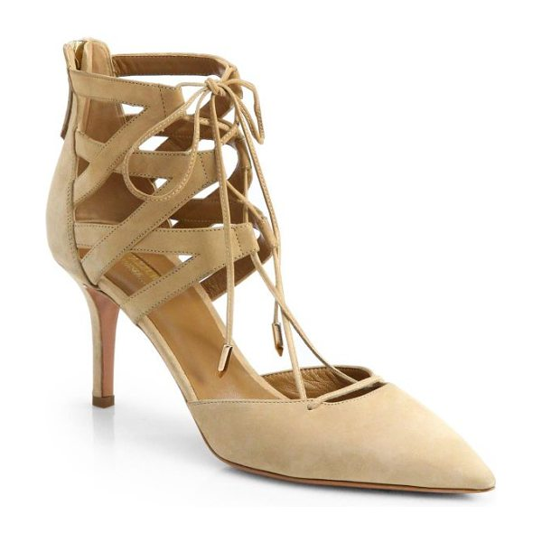 Aquazzura belgravia suede lace-up pumps in nude - Lace-up suede pump with point toe. Self-covered heel,...
