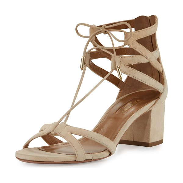 "AQUAZZURA Beverly Hills 50mm Suede Lace-Up Sandal - Aquazzura suede sandal. 2"" covered block heel; 4""H..."