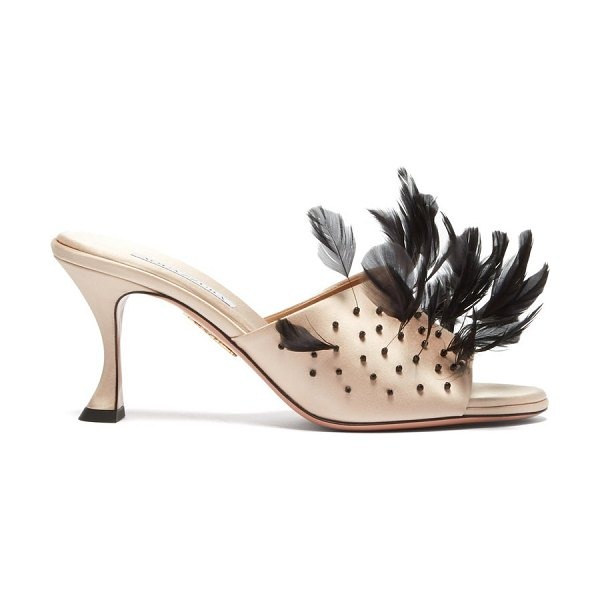 Aquazzura bird of paradise 75 feather and satin mules in pink multi