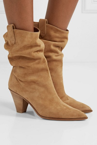 Aquazzura boogie 70 suede ankle boots in sand