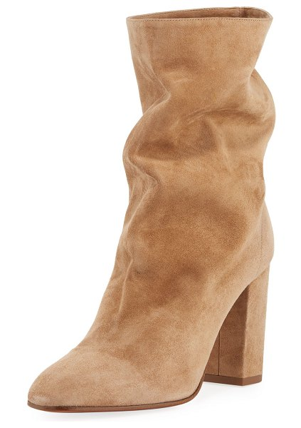 "Aquazzura Booties Slouchy Scrunch Suede Booties in beige - Aquazzura slouchy suede bootie. 3.3"" covered block heel...."