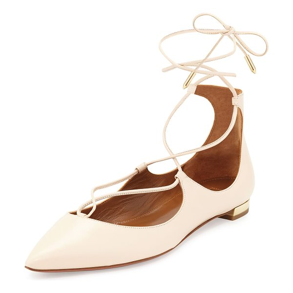 "Aquazzura Christy Lace-Up Pointed-Toe Flat in blush - Aquazzura napa leather flat. 0.5"" flat metallic heel...."