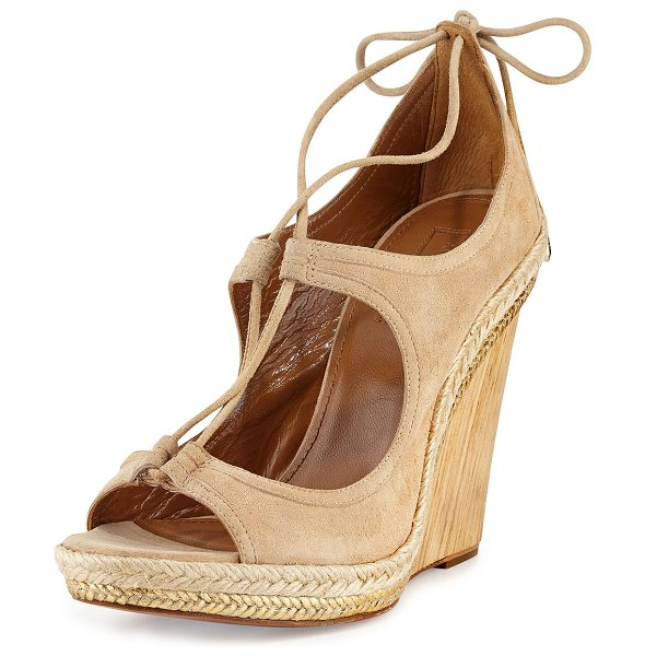 """Aquazzura Christy Lace-Up Wedge Sandal in nude - Aquazzura """"Christy"""" suede sandal. 4"""" textured wooden..."""