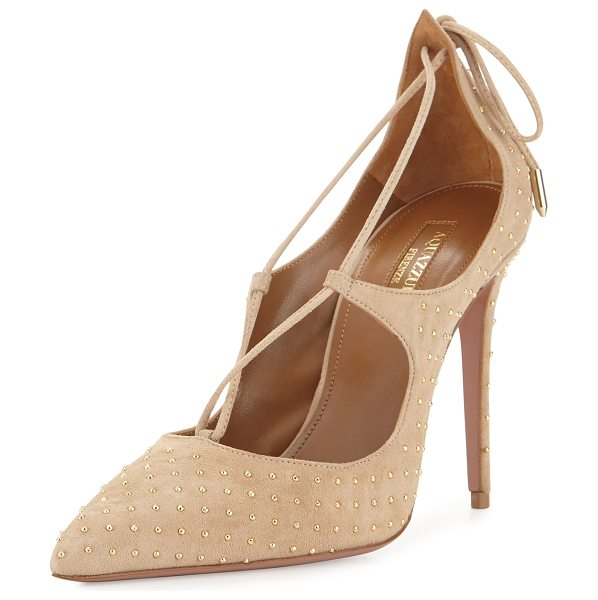 Aquazzura Christy Studded Lace-Up Pump in nude