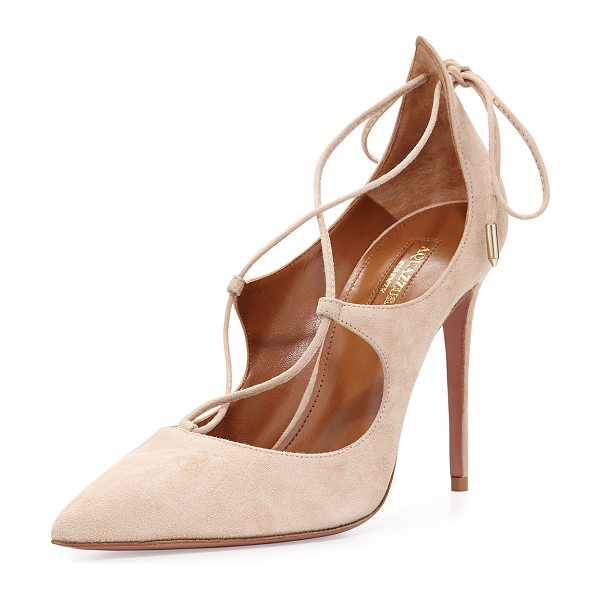 "Aquazzura Christy Suede Lace-Up Pump in nude - Aquazzura suede ""Christy"" pump. 4.1"" covered heel...."