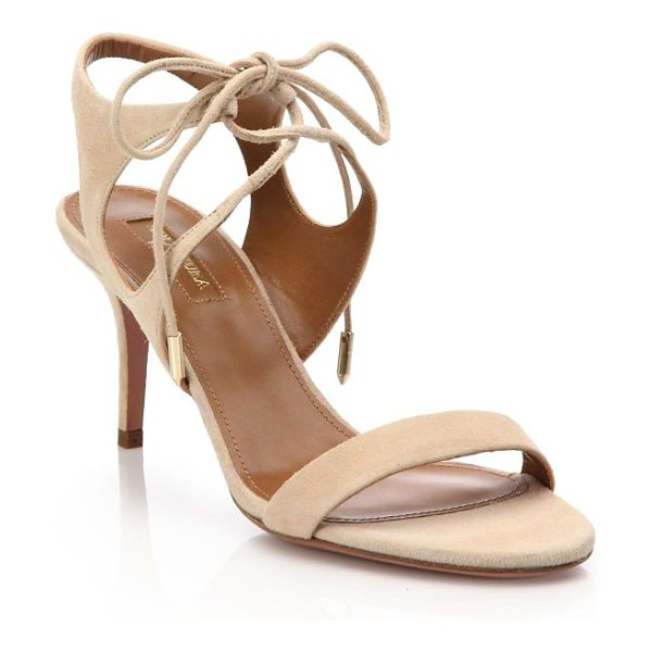 Aquazzura colette suede ankle-tie sandals in nude