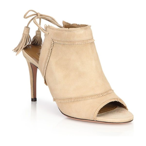 Aquazzura colorado peep-toe booties in nude - Subtle fringe accents these chic booties. Self-covered...