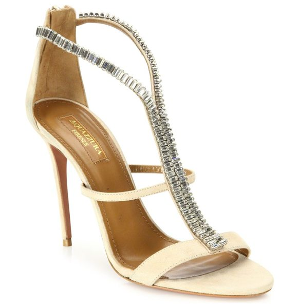 Aquazzura constance crystal-embellished suede sandals in nude - Strappy suede sandal overlaid with glam crystal strip....