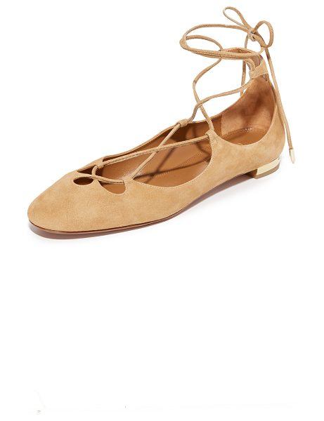 Aquazzura Dancer Flats in cappuccino - Luxe suede composes these scalloped Aquazzura flats....