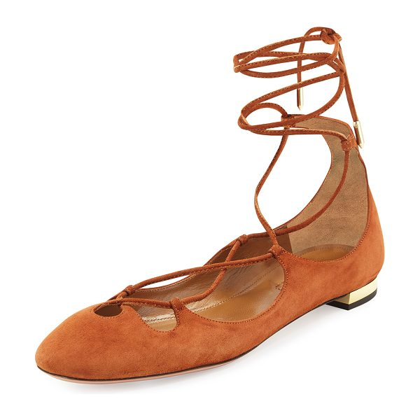 "Aquazzura Dancer Suede Lace-Up Flat in luggage - Aquazzura suede ballerina flat. 0.5"" flat metallic heel...."