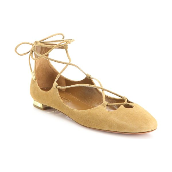 Aquazzura dancer suede lace-up flats in cappuccino - Ballet-inspired suede lace-up flat on metallic heel....