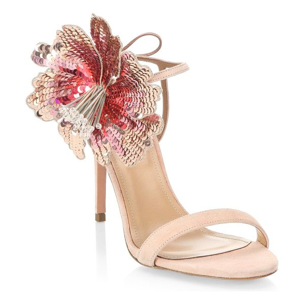 Aquazzura disco flower sandals in french rose - From the Saks It List: Garden Party Florals. Elaborate...