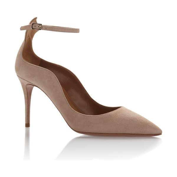 Aquazzura Dolce Vita Pump in nude - A suede pump adds necessary texture to any look. These...
