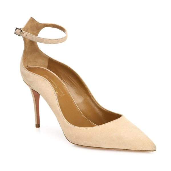 Aquazzura dolce vita suede ankle-strap pumps in biscotto - Curvy cut suede point-toe pump updated with ankle strap....