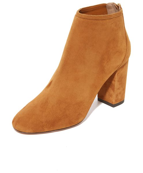 Aquazzura downtown booties in cognac - A sculpted heel cap lends a layered look to these luxe...