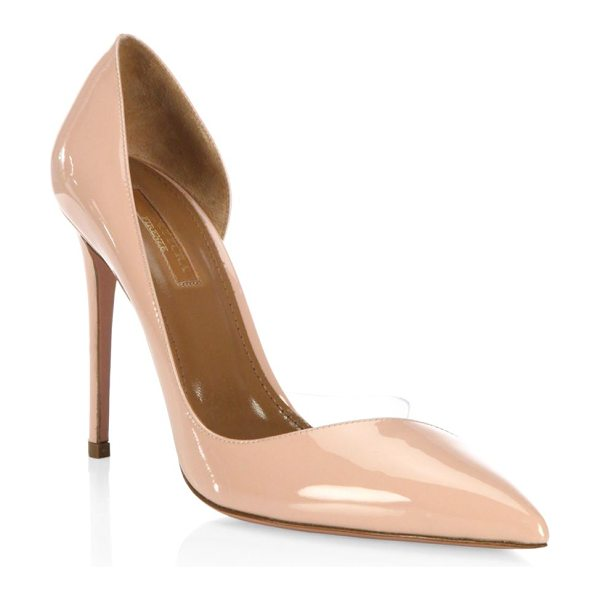 "Aquazzura eclipse closed toe pumps in powder pink - Pumps featuring a patent finish. Covered heel, 4.25""..."