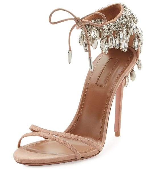 Aquazzura Eden Crystal-Embellished Sandals in powder pink