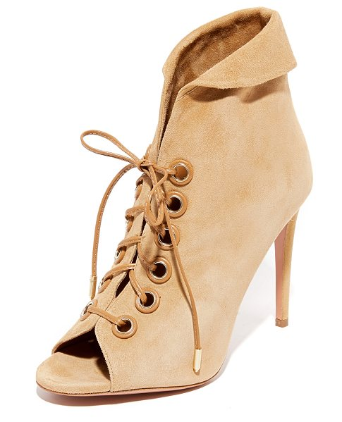 Aquazzura eva booties in cappuccino - Luxe suede Aquazzura booties styled with a soft, fold...