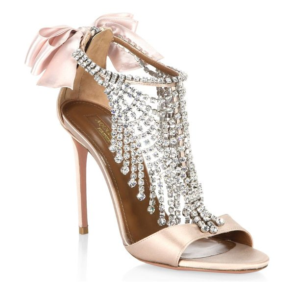 AQUAZZURA fifth avenue crystal & satin sandals - EXCLUSIVELY AT SAKS FIFTH AVENUE. Elegant satin sandal...