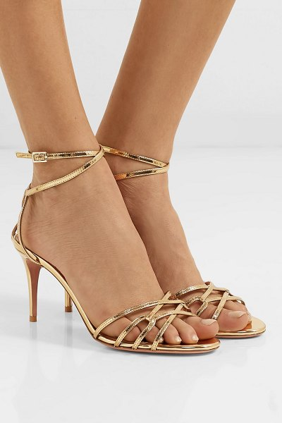 Aquazzura first kiss metallic leather sandals in gold