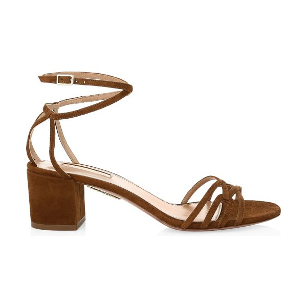Aquazzura first kiss suede sandals in cinnamon