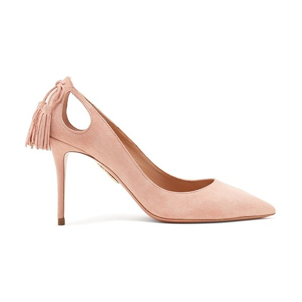 Aquazzura Forever Marilyn 85 Suede Pumps in light pink