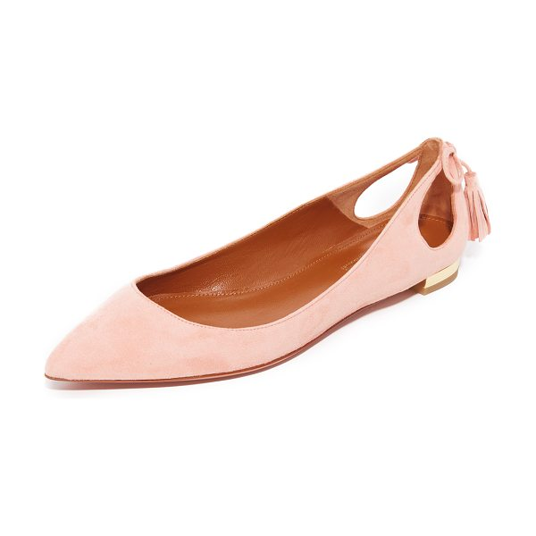 AQUAZZURA forever marilyn flats in peony - Luxe suede Aquazzura flats fashioned with delicate...