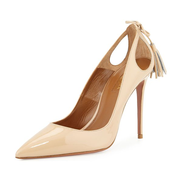 "Aquazzura Forever Marilyn Patent Leather Cutout Pump in nude - Aquazzura patent leather pump. 4.3"" covered stiletto..."