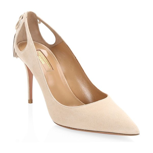 Aquazzura forever marilyn cutout suede pumps in nude