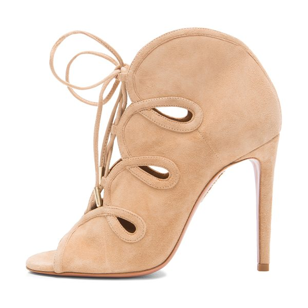 Aquazzura French Kiss Suede Heels in neutrals - Suede upper with leather sole.  Made in Italy.  Approx...