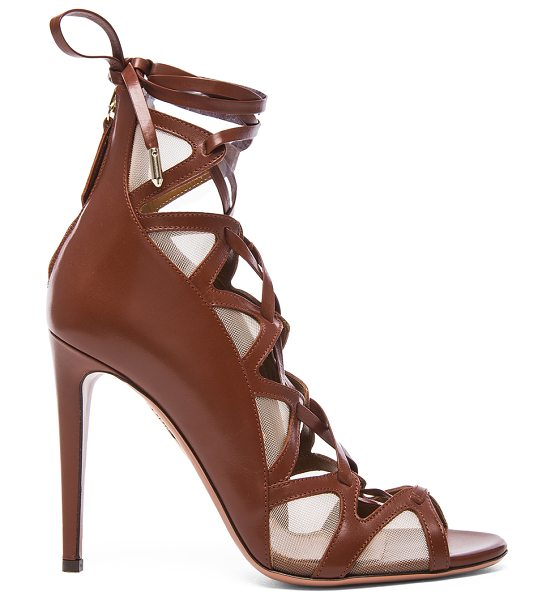 Aquazzura French Lover leather Heels in brown - Leather upper and sole.  Made in Italy.  Approx 105mm/...