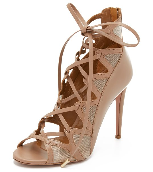 Aquazzura French lover sandals in biscotti - Sleek leather and sheer mesh compose these striking...
