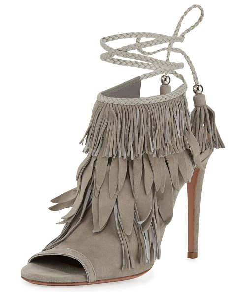 "Aquazzura Fringe Suede 105mm Sandal in light grey - Aquazzura suede sandal with fringe trim. 4.1"" covered..."