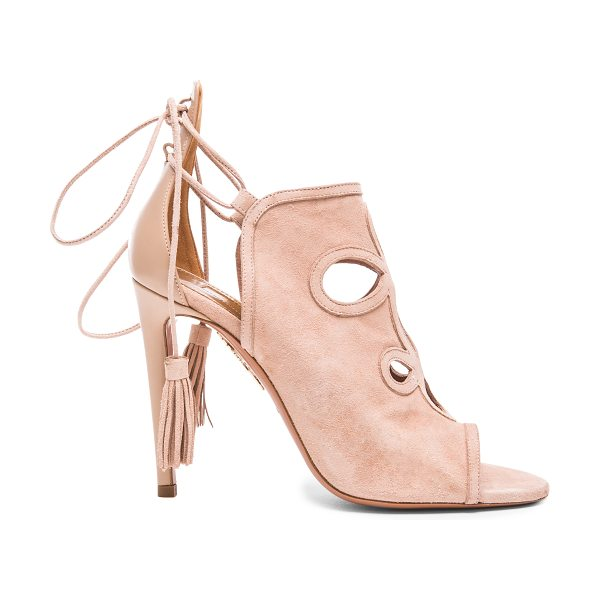Aquazzura Get me everywhere suede heels in pink,neutrals - Calfskin suede upper with leather sole.  Made in Italy. ...