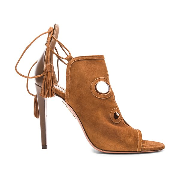 Aquazzura Get Me Everywhere Suede Heels in brown - Calfskin suede upper with leather sole.  Made in Italy. ...