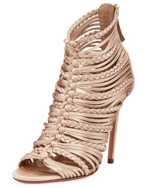 "AQUAZZURA Goddess Strappy Satin Sandal - Aquazzura strappy woven satin sandal. 4.1"" covered heel...."