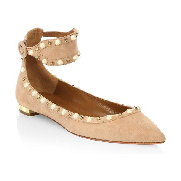 Aquazzura harlow pearl suede flats in powder pink - Attractive flats accentuated with polished pearls. Kid...