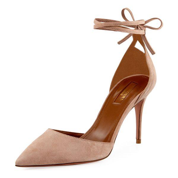 "Aquazzura Heart Breaker 85mm Ankle-Wrap Pump in powder pink - Aquazzura suede pump. 3.3"" covered heel. Pointed toe...."