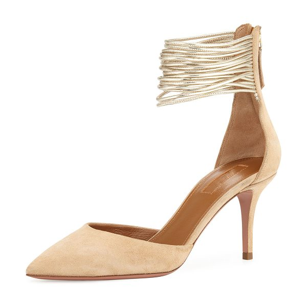 "AQUAZZURA Hello Lover Ankle-Cuff 75mm Pump - Aquazzura suede d'Orsay pump. 3"" covered heel. Pointed..."