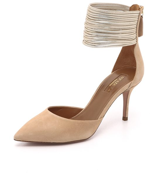 AQUAZZURA hello lover pumps - Slender, metallic leather straps form a wide cuff on...