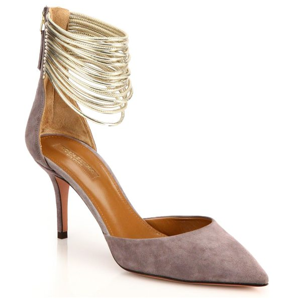 Aquazzura Hello lover suede & calf hair t-strap pumps in taupe - A dazzling study in textures, this T-strap pump is...