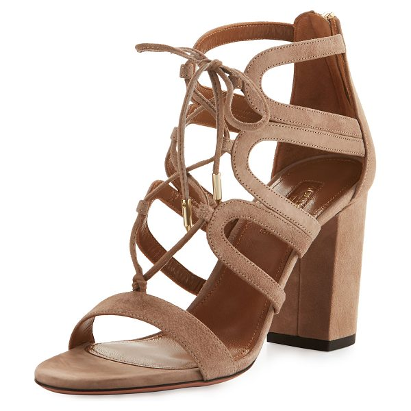 Aquazzura Holli Suede Lace-Up 85mm Sandal in cafe late db7 - EXCLUSIVELY AT NEIMAN MARCUS Aquazzura suede sandal....