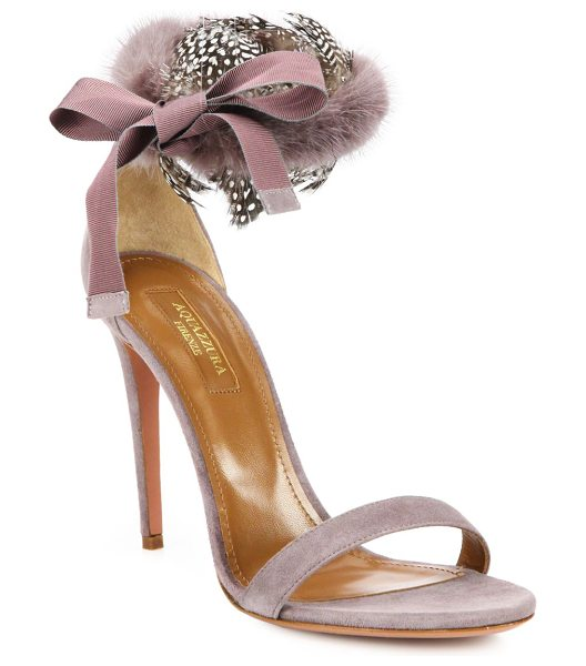 Aquazzura Iris fur & feather-trimmed suede d'orsay strappy sandals in blush - Fluffy mink and wispy feathers at the back of a graceful...
