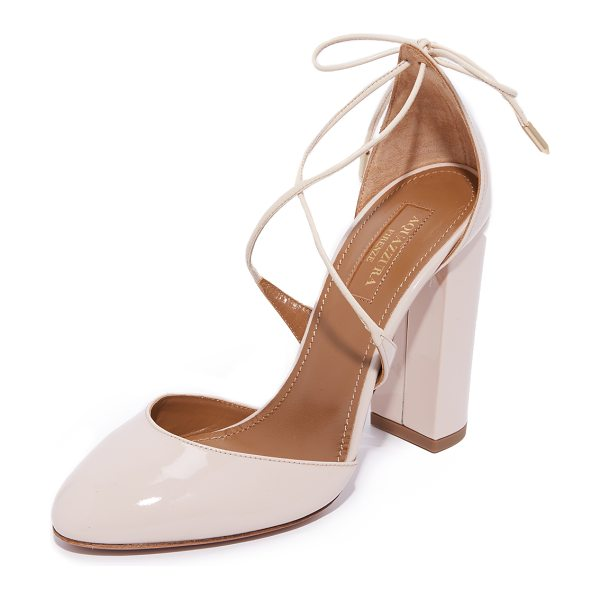 Aquazzura karlie 105 pumps in blush - Glossy patent Aquazzura pumps styled with slim lace up...