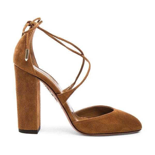 Aquazzura Karlie Suede Heels in cognac - Suede upper with leather sole. Made in Italy. Approx...